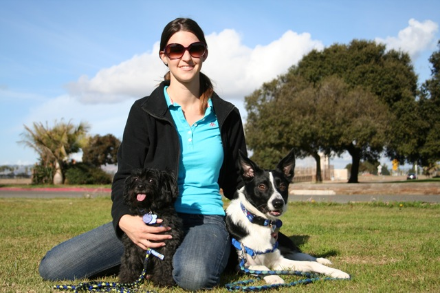 Jessica Koester, dog trainer, and her dogs at park